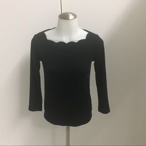 J.Crew Top Black Long Sleeves Detailed Culler XXS